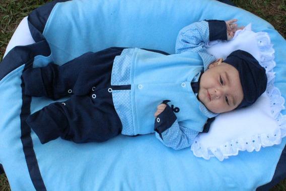 Saida De Maternidade 05 Peças Azul Casual - Menino