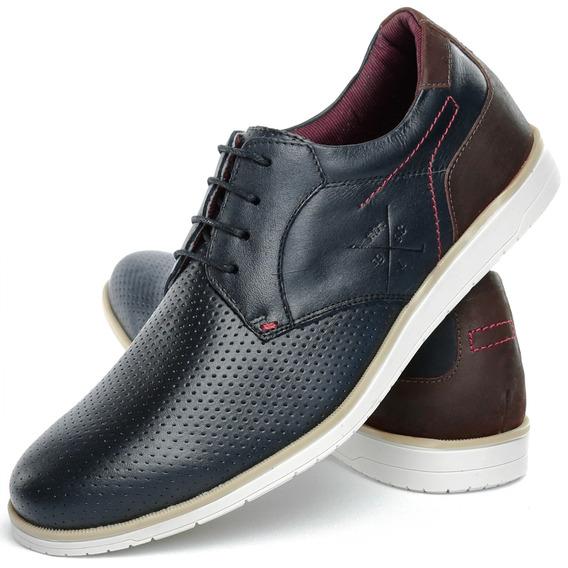 Sapato Sapatênis Casual Masculino Em Couro + Frete Grátis