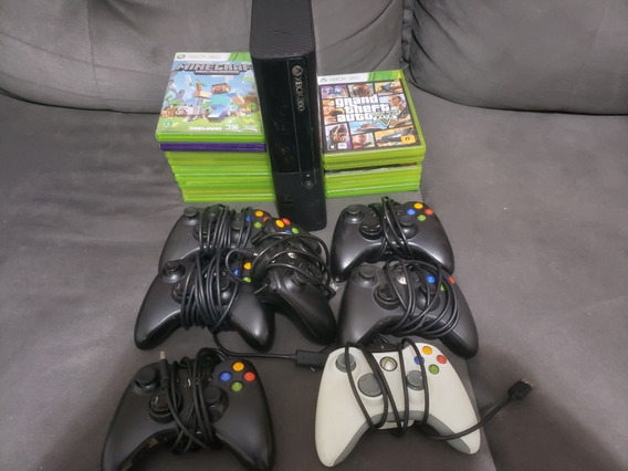 Video Game Xbox 360 250g Kinect 7 Controles + 15 Jogos