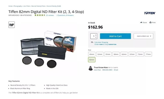 Kit De Filtros Neutros Tiffen 82mm (2, 3, 4-stop)