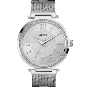 Relógio Guess Feminino Prata Original Strass 92580l0gdna1