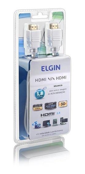 Cabo Elgin Hdmi X Hdmi 1,8 Metros Branco Alta Definição