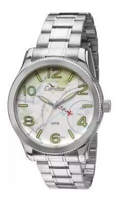 Relógio Masculino Analógico Condor,prata,pulseira De Aço 50m