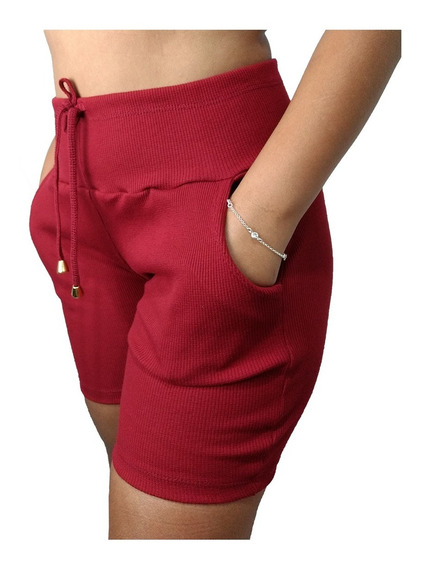 Kit 6 Shorts Feminino Ribana Cintura Alta Short Atacado