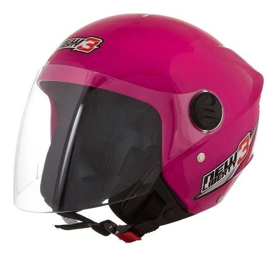 Capacete para moto aberto Pro Tork New Liberty Three rosa tamanho 60