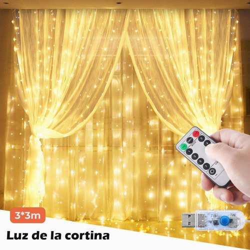 Cortina De Luces 3x3m 300leds Luz Decorativa Ip65 Remote