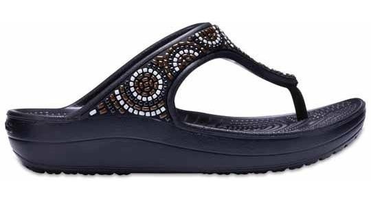 Sandalia Crocs Dama Sloane Embellished Flip-beaded Negro