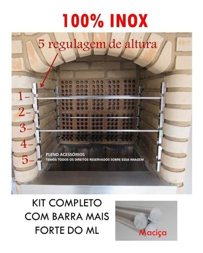 Suportes Churrasqueira 100% Inox  C/ 4 Barras Inox 60cm