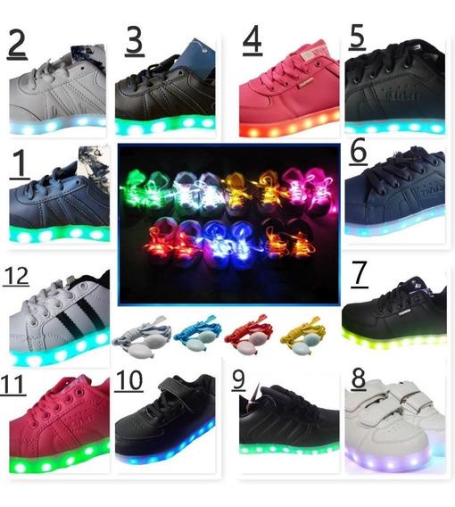 Llego Zapatillas Con Luces Varios Colores +cordones Led