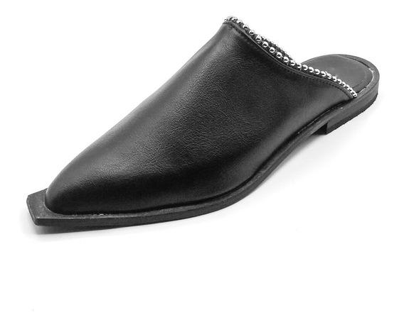 Zapato Zueco Mujer Cuero Ecológico Detalle Tachas Negro Bajo