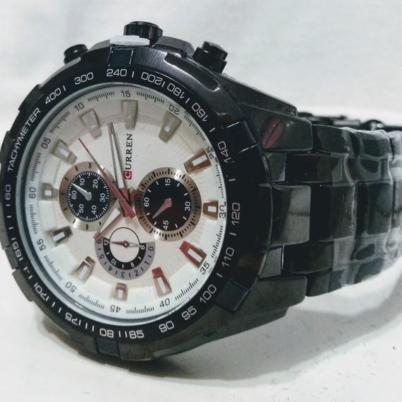 Relógios Pulso Curren Preto Pulseira Aço Inoxidável