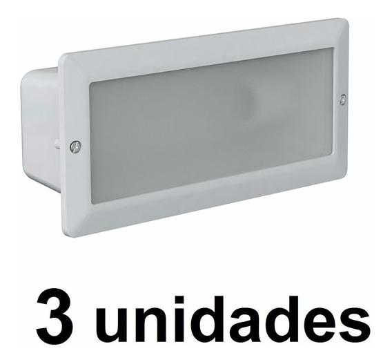3 Un. Luminaria Embutir Aluminio Externa Germany 6100 Branca