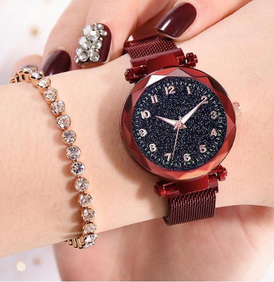 Relógio Feminino Ceu Estrelado Pulseira Magnética Vermelho