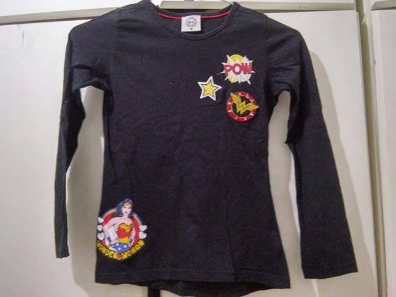 Camiseta Infantil Menina Mulher Maravilha Dc Comics Preta 8