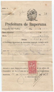 Antigo Imposto De Talho Itaperuna Rio De Janeiro 1934