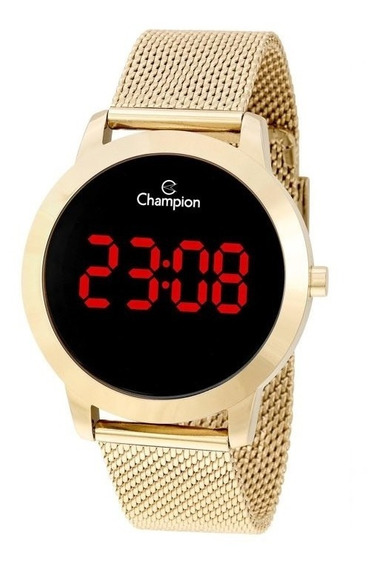 Relogio Champion Feminino Dourado Digital Led Original