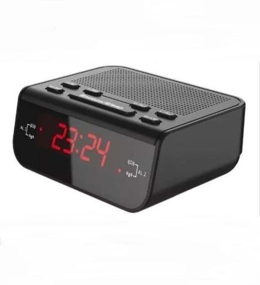 Rádio Relógio Despertador Digital De Mesa Lelong Le-671 Am Fm Preto