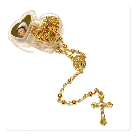 Terço Sagrado Coração Maria Kit 56 Unidades Dourado E Pratea