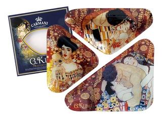 Plato En Cristal 3 Piezas Triangulares El Beso, Adele. Klimt