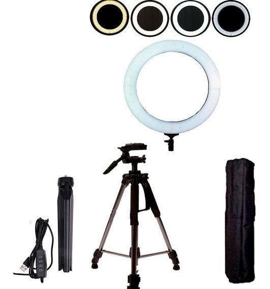 Kit Iluminador Led Circular Ring Light + Tripé Profissional