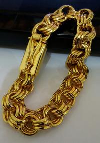 Pulseira Masculina Banhada A Ouro 18k 12mm Triplo Elo