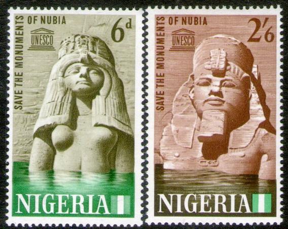 Nigeria 2 Sellos Unesco Salvataje Monumentos De Nubia 1964