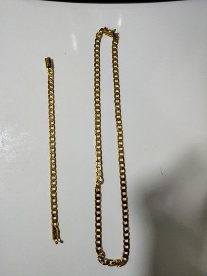 Corrente + Pulseira 7mm Banhado A Ouro18k