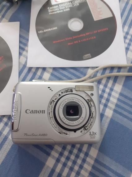 Camera Digital Canon Powershot A480 Em Bom Estado Completa.
