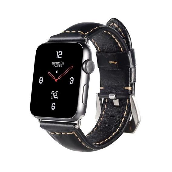 Correa De Piel Retro Black Para Apple Watch + Mica Y Case