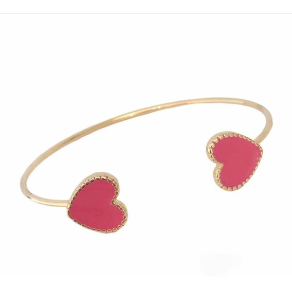 Pulseira Bracelete Aro Coração Rosa Pink Dourada Delicada