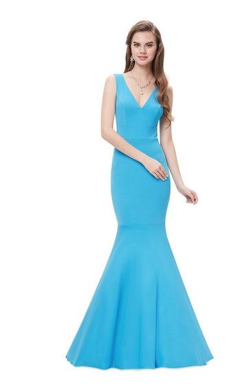 Vestido Sereia Festa Longo Azul Céu Tam G Ou Gg