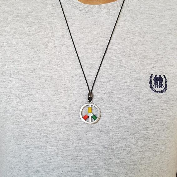 Colar Cordao Masculino Feminino Simbolo Paz Hippie Rock