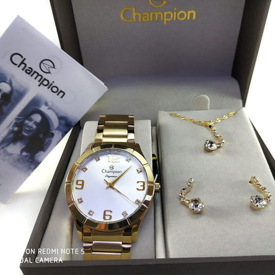 Kit Relogio Feminino Champion Ch24535w Com Semi Joia Nota Fiscal Cx