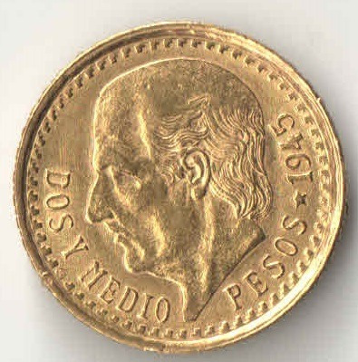 México 1945 2½ Pesos Ouro 2,08g. Ø15,5mm
