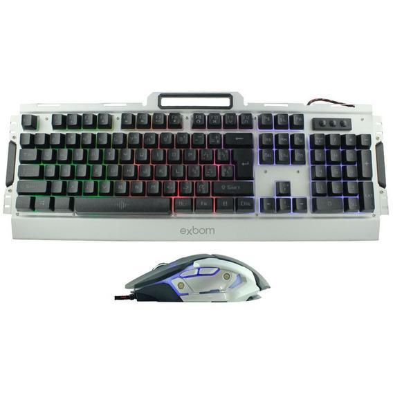 Combo Teclado Mouse Gamer Exbom Bk-g3000 Novo Na Caixa Prata