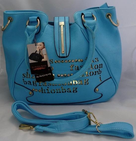Bolsa Couro Ecológico Feminina Azul Claro Promoção B0020