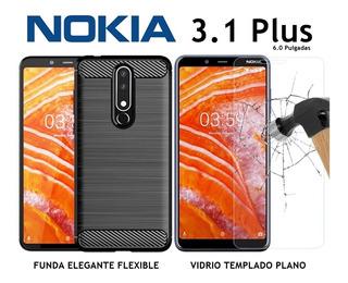 Funda Elegante Flexible + Vidrio Templado Plano Nokia 3.1 Plus Rosario