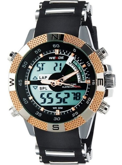 Relógio Masculino Pulseira Silicone Weide Led 1104 Preto Dou