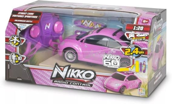 Nikko Vw Beetle Rosa 1:20 Carrinho De Controle Remoto