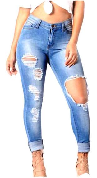 Roupas Feminina Calça Cintura Alta Jeans Rasgada Dins