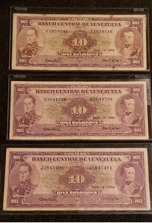 Billetes 10 Bolivares 1961 Seriales F7 H7 J7 Cara Volteada