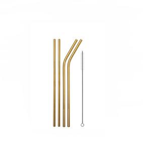 Kit 4 Canudos Dourado Reutilizável + 1 Escova - 20,5cm 2r2c