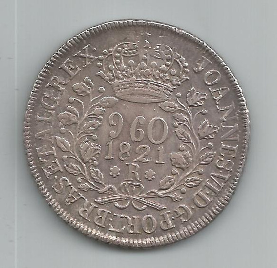 Moeda Prata Brasil - 960 Réis (patacão) - 1821 R - Ce-16a