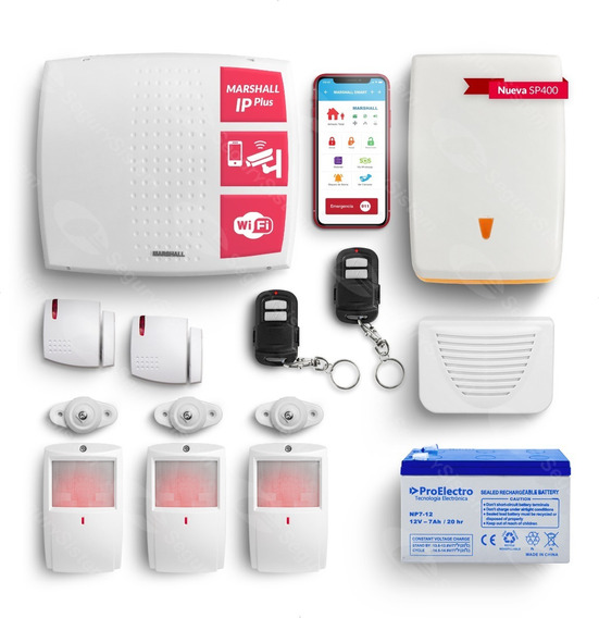 Kit Alarma Casa Domiciliaria Marshall Wifi Ip Internet Casa Sirena Sensor Inalambrico App Celular