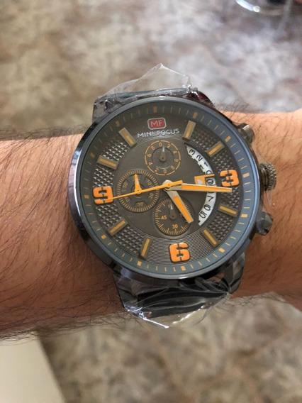 Mini Focus Mf0025g 4296 Relógio Clássico Pulseira De Couro