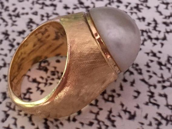 Anel Ouro 18k 750 Com Pérola, 10.6 Gr.-aro:12.