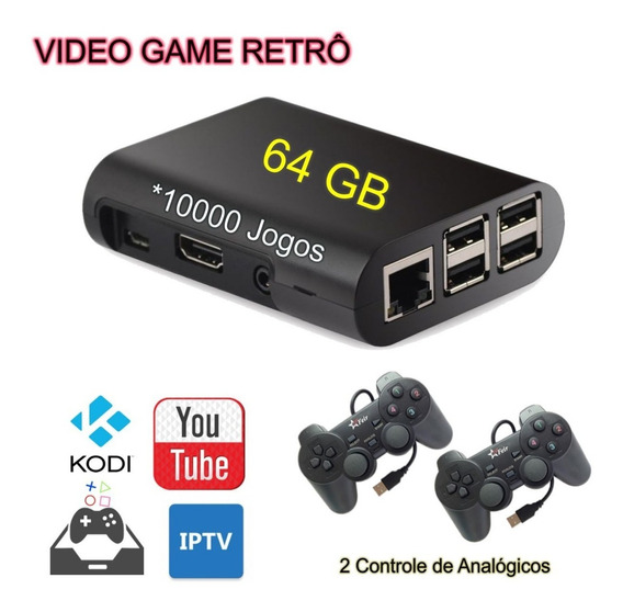 Vídeo Game Retrô Com 2 Controles De Fio E 64 Gb - Promoção