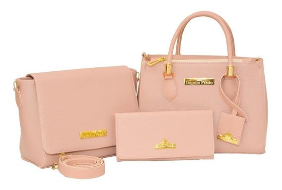 Bolsa Feminina Kit Com 3 Bolsas Grande Pequena + Carteira