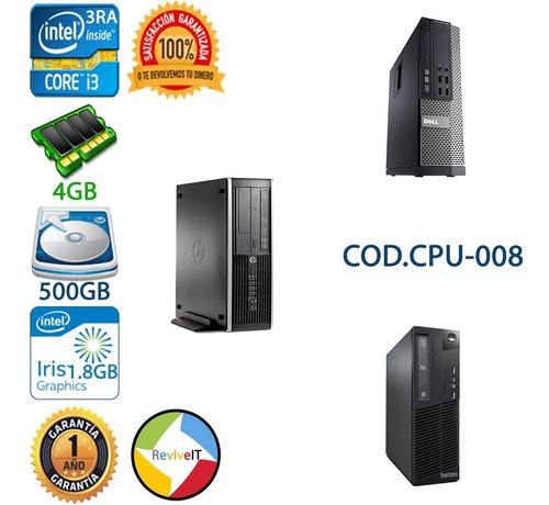 Cpu Core I3 3ra Tercera 4gb 500gb Hp Dell Lenovo Slim Torre