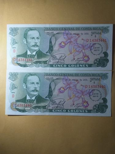 Imagen 1 de 2 de Billetes Conmemorativos 5 Colones 1975 Costa Rica Unc.